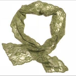 Accessories - Green Lace Self Tie Hair Headband